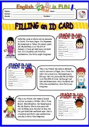 English Worksheet: Filling an ID CArd
