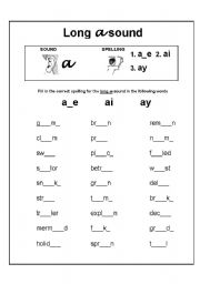 English Worksheet: Long vowel sound a spelling exercise