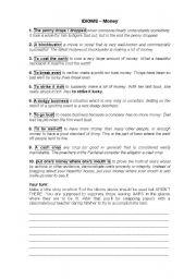 English Worksheet: Idioms- Money