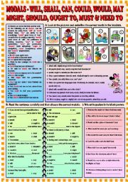 English Worksheet: Modals - will, shall, can, could, would, may, might,should, ought to,must & need to + KEY