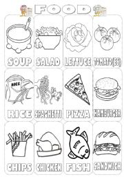 English Worksheet: Food Pictionary Colouring (2 pages)