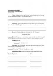 English Worksheets: Psychology Research