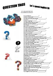 English Worksheets: Revision series 38 - Question tags