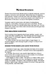 English Worksheets: Text about Mythical creatures