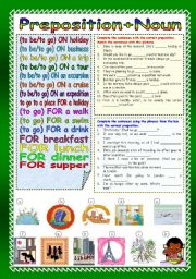 English Worksheet: Preposition+Noun (Part 2)