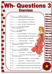 English Worksheets: WH- QUESTION WORDS 3/3 - EXERCISES
