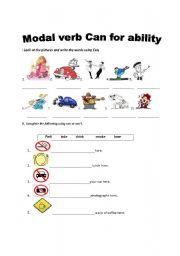 Modal verb can for ability - ESL worksheet by SANBS