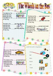 English Worksheet: Wheels on the bus song (B/W version included) Children´s Songs 4