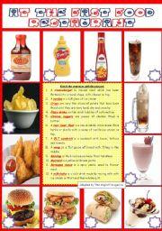 English Worksheet: FOOD: AT THE FAST FOOD RESTAURANT