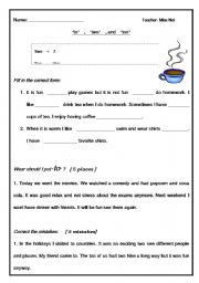 English Worksheets: �to� , �two� , and �too�