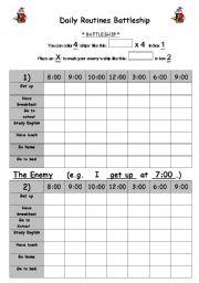 English Worksheets: Daily Routines Battleship Game