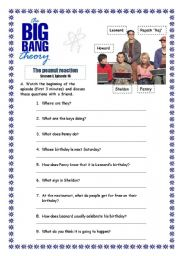 English Worksheet: The big bang theory - The peanut reaction s01 e16