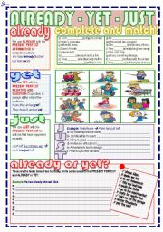 English Worksheet: Already, Yet, Just