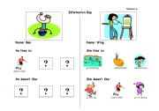 English Worksheets: Hobbies Information Gap - Part A