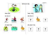 English Worksheets: Hobbies Information Gap - Part B