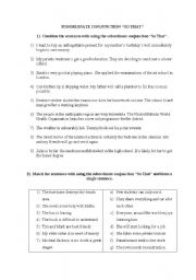 English Worksheets: SUBORDINATE CONJUNCTION �SO THAT�