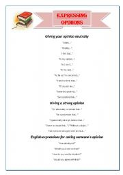 English Worksheet: Expressing opinions / Giving your opinion