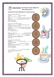 English Worksheet: Song Activity: No Pressure Over Cappuccino - Alanis Morissette