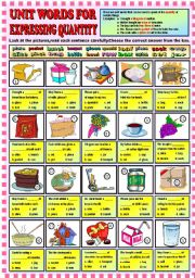 English Worksheet: Unit words for expressing quantity + KEY