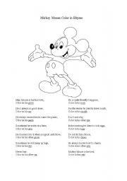 English Worksheet: Mickey Mouse Color in Rhyme