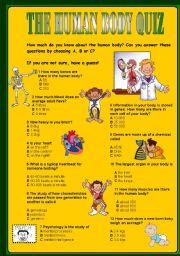 English Worksheet: THE HUMAN BODY QUIZ