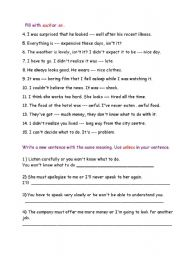 English Worksheet: conjunctions : such / so /unless