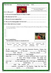 English Worksheet: Video Exercise: Charlie and the Chocolate Factory  (Bonus Feature)