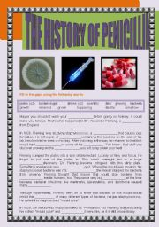 English Worksheet: THE HISTORY OF PENICILLIN + ALEXANDER FLEMING�S URBAN LEGENDS