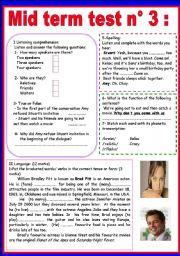 English Worksheet: MID TERM TEST N 3