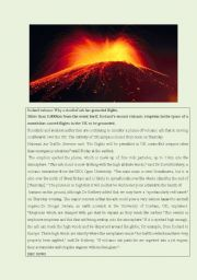 English Worksheet: the Iceland volcano