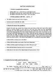 English Worksheet: native americans