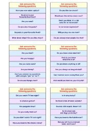English Worksheet: YES OR NO GAME -- (PRE-)INTERMEDIATE VERSION (good for adults, too) -- A VERY EFFECTIVE METHOD TO MAKE YOUR STUDENTS TALK! -- SUCCESS GUARANTEED