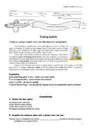 English Worksheet: Eating habits - reading comprehnsion
