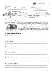 English Worksheets: The house - reading comprehension