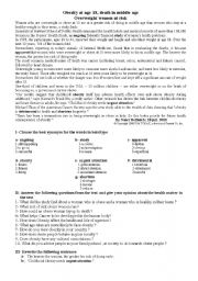 English Worksheet: OBESITY AT AGE 18