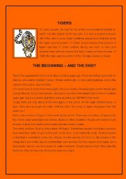 English Worksheets: Tigers ( 3 pages )