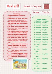 English Worksheets: Oral drill - how much/very little - how many/very few