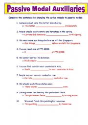 English Worksheet: Passive Modal Auxiliaries