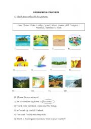 English Worksheets: Geographical Features