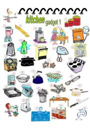 English Worksheet: KITCHEN GADGET 1, 2PAGES, KEY INCLUDED