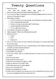 English Worksheets: Twenty Questions