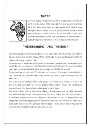English Worksheets: Tigers ( 3 pages ) - B&W version