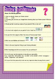 English Worksheets: student questionnaire