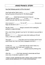 english worksheets anne frank s story. Black Bedroom Furniture Sets. Home Design Ideas