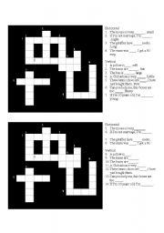 English Worksheet: crossword adjectives