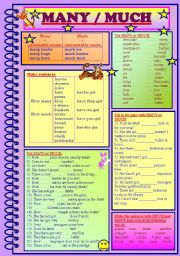 English Worksheet: MANY / MUCH