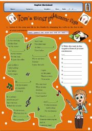 English Worksheet: editable-Present Continuous song- AFFIRMATIVE AND NEGATIVE FORMS+ TEACHER�S KEY