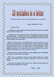 English Worksheets: Find and correct the 20 mistakes or problems in the letter