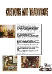 English Worksheets: customs and traditions