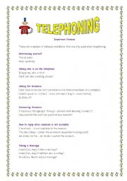 English Worksheets: TELEPHONING